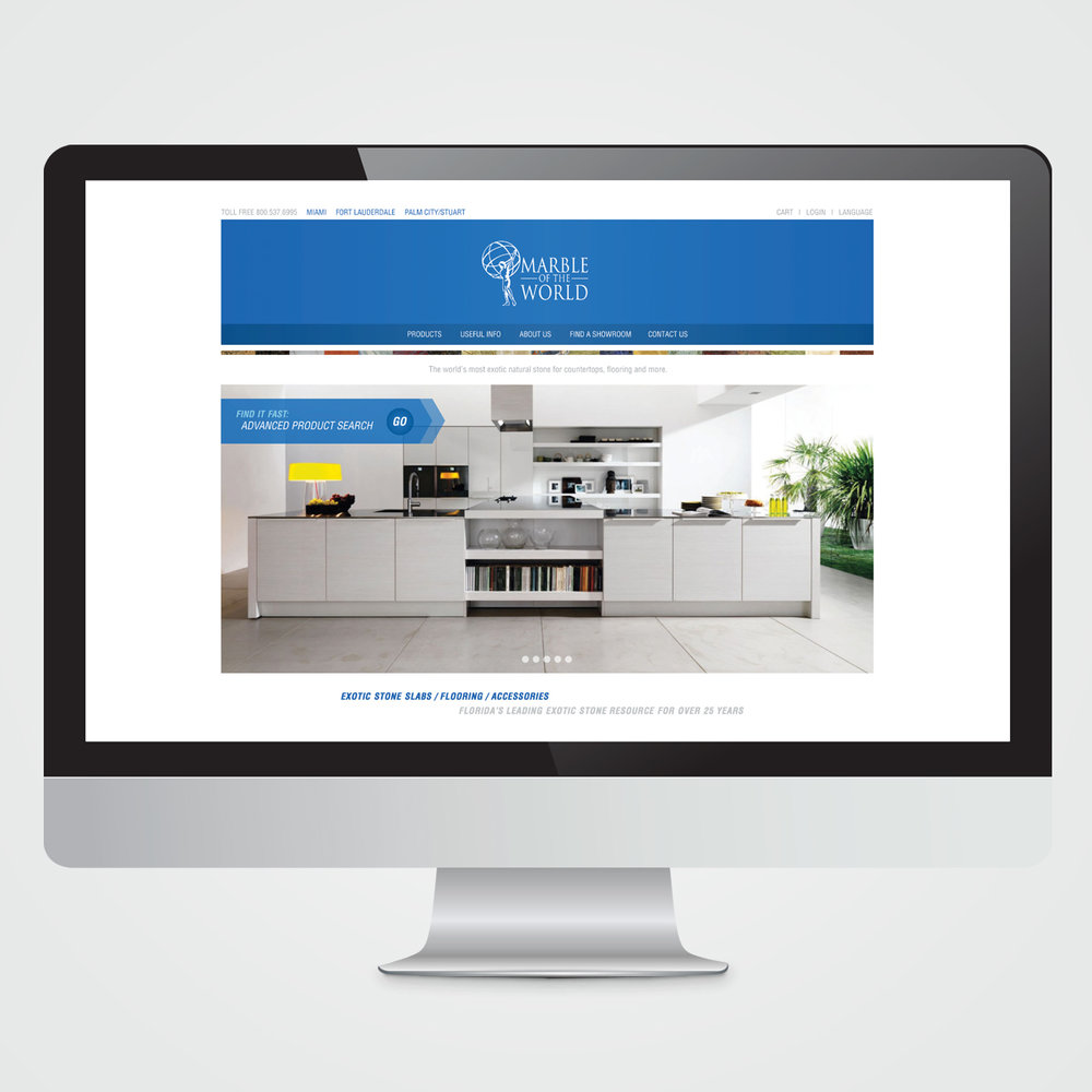 Website design for Marble Of The World, Fort Lauderdale