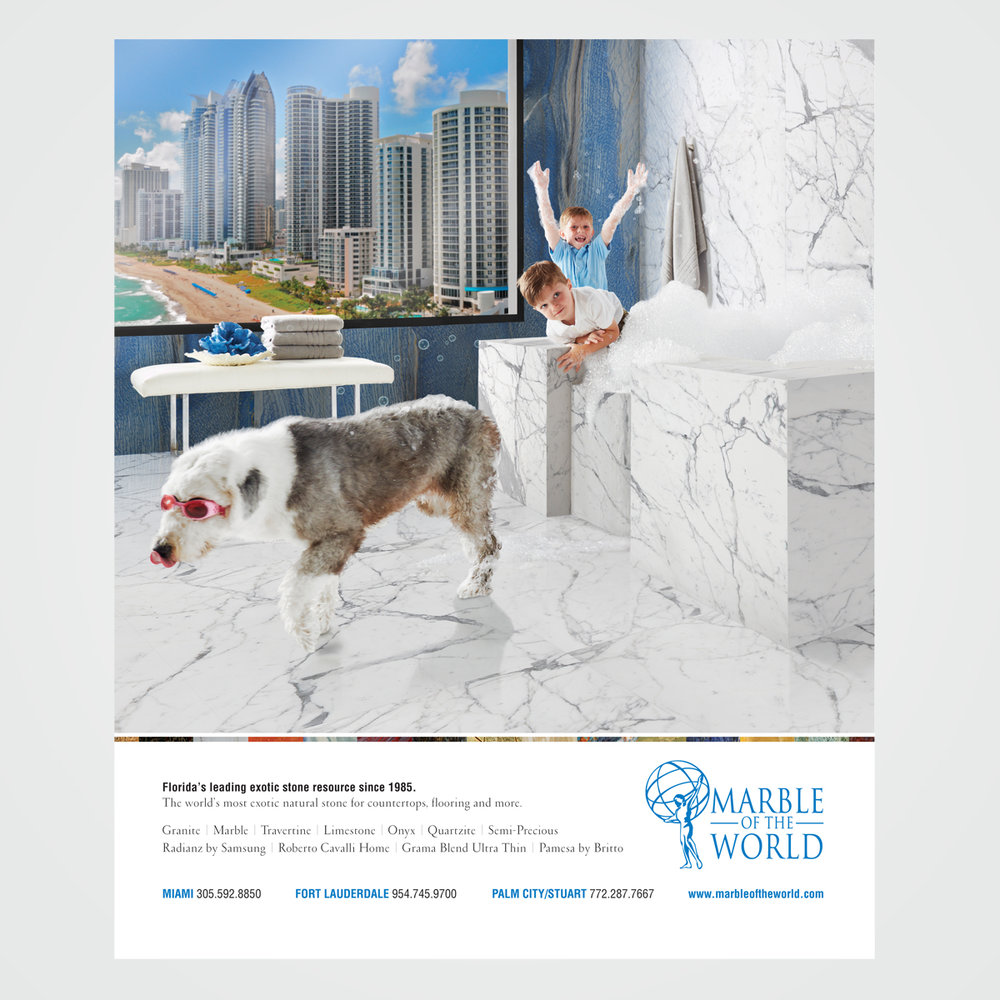 Magazine ad design for Marble Of The World, Fort Lauderdale