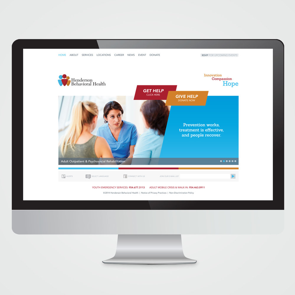 Website design for Henderson Behavioral Health, the largest behavioral health organization in South Florida