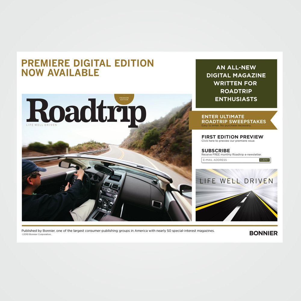 Home page for Bonnier Publishing's online travel magazine, Roadtrip
