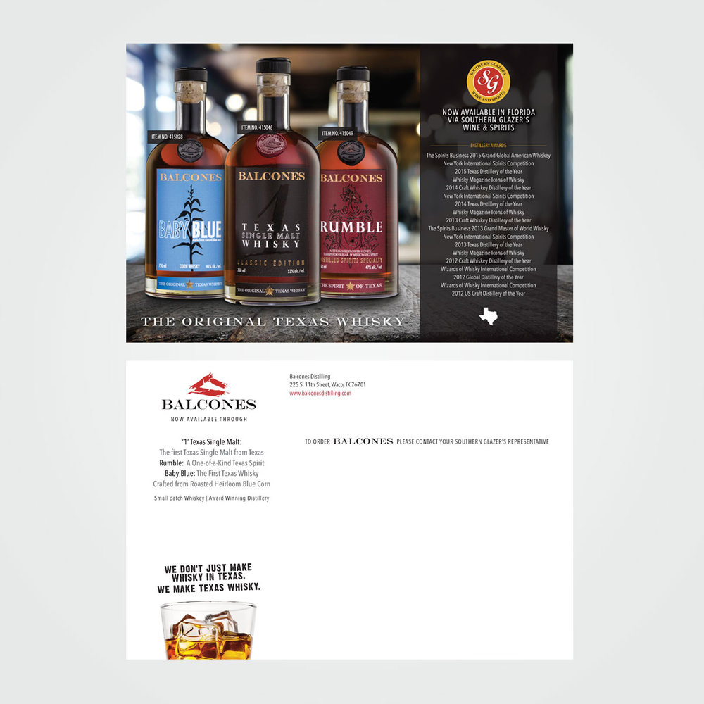 B2B direct mail postcard design for Balcones Whisky