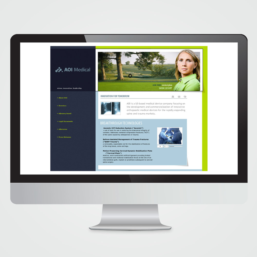 Website design for AOI Medical, a medical device company