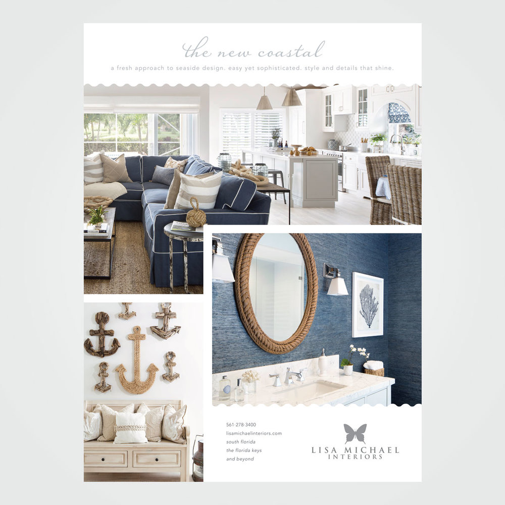 Magazine ad for Lisa Michael Interiors, a Florida-based interior design firm