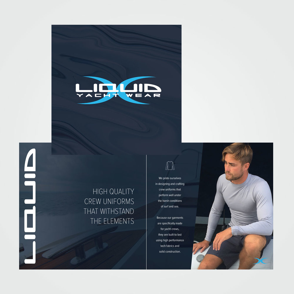 Brochure design for Liquid Yacht Wear, which sells customized uniforms for yacht crews