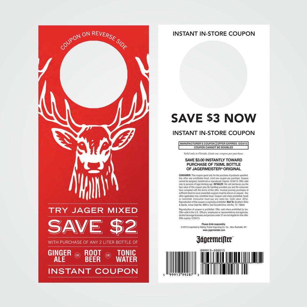 POS instant rebate coupon / necker design for Jägermeister German liqueur