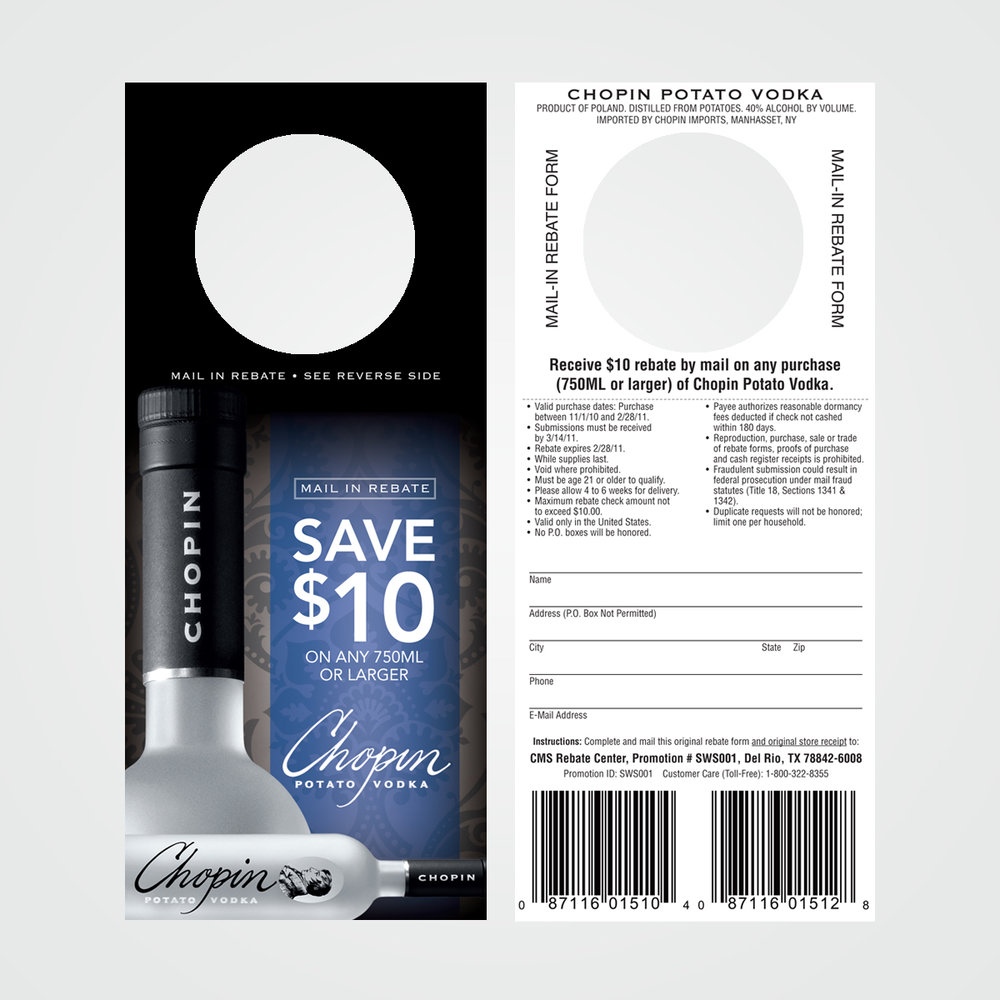 POS instant rebate coupon / necker design for Chopin Vodka