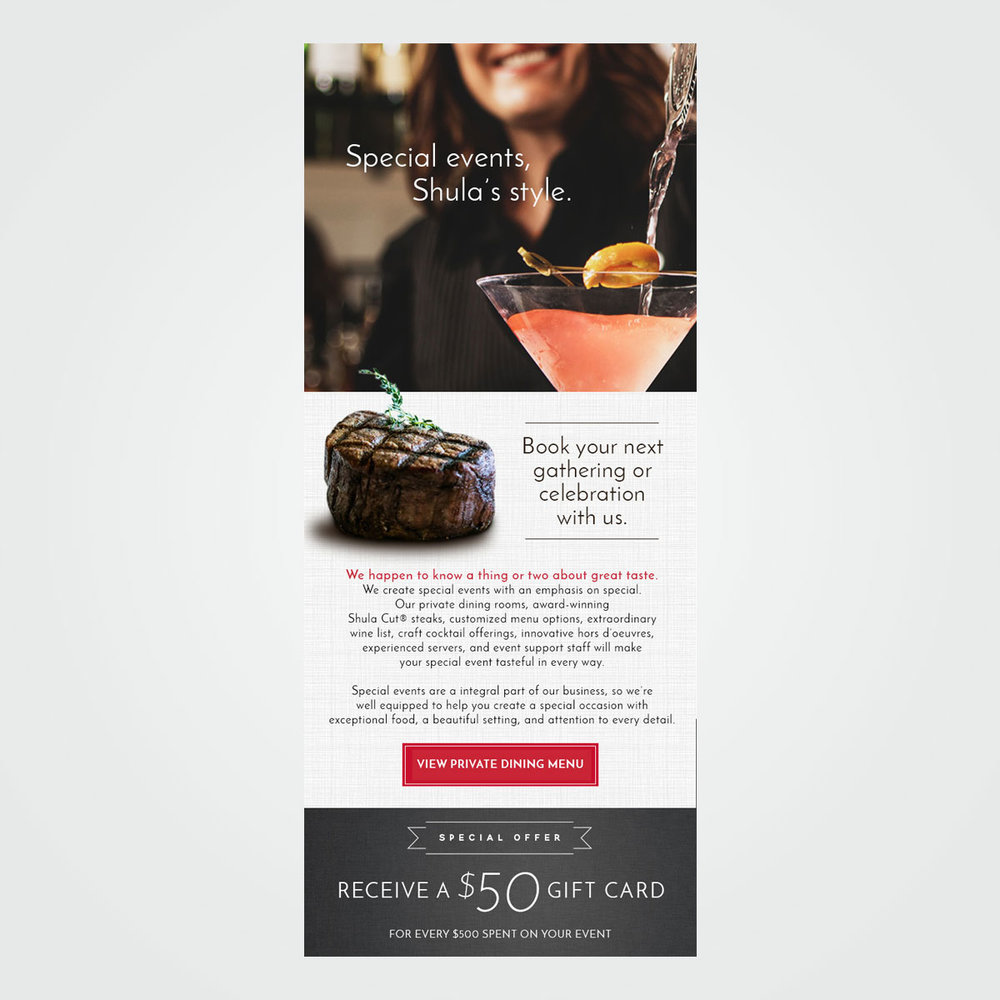 E-mail marketing campaign graphics for Shula's Restaurants