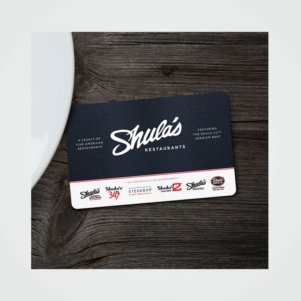 Gift card design for Shula's Restaurants - project included over 50 designs for occasion-specific e-gift cards available online