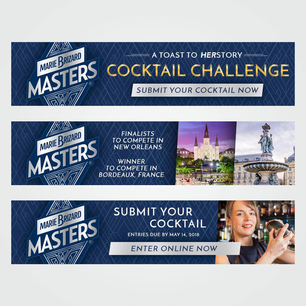 "Online / digital ad design for ""Masters Cocktail Challenge"" promotion sponsored by Marie Brizard"