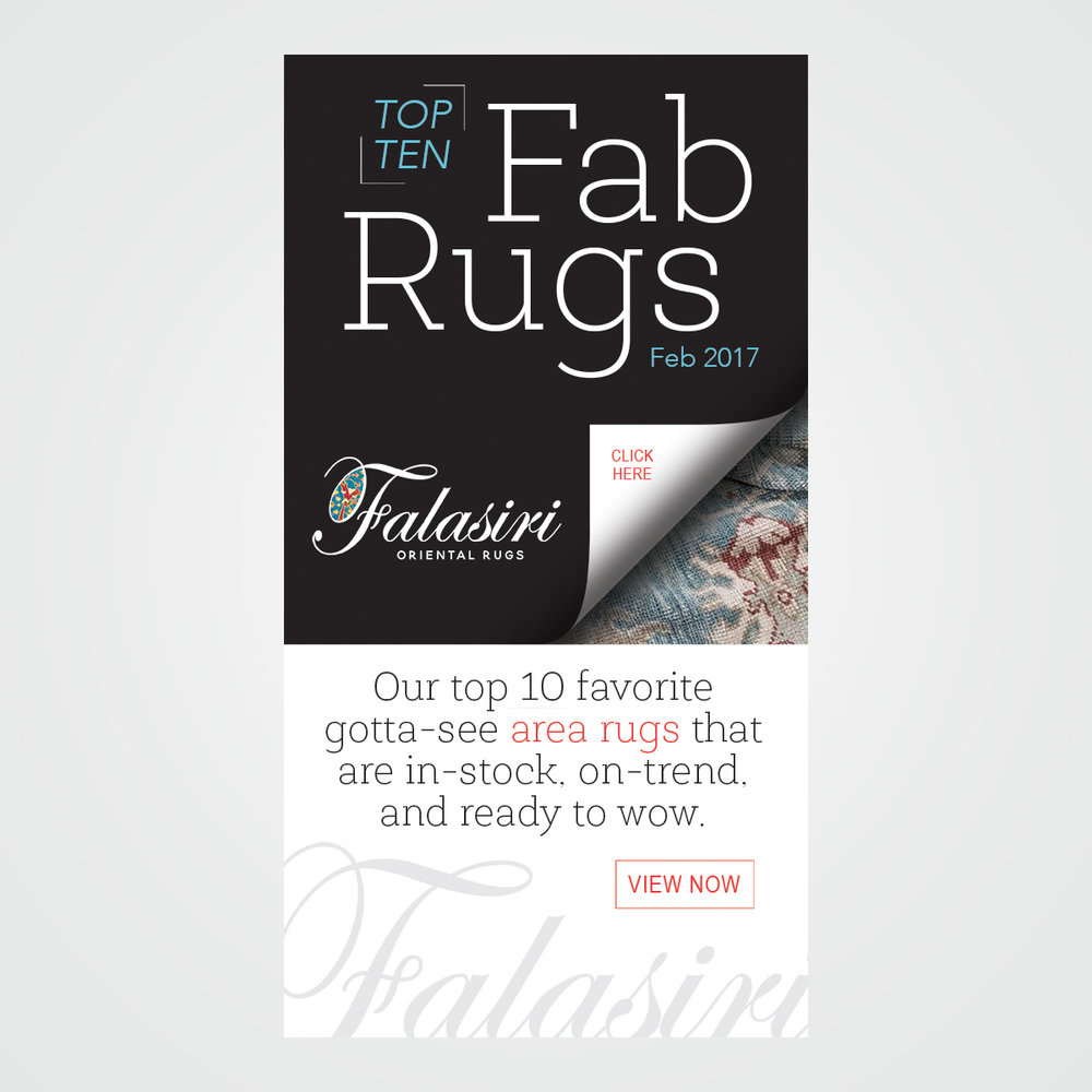 E-mail marketing / online advertising campaign for Falasiri Rugs, Vero Beach, FL