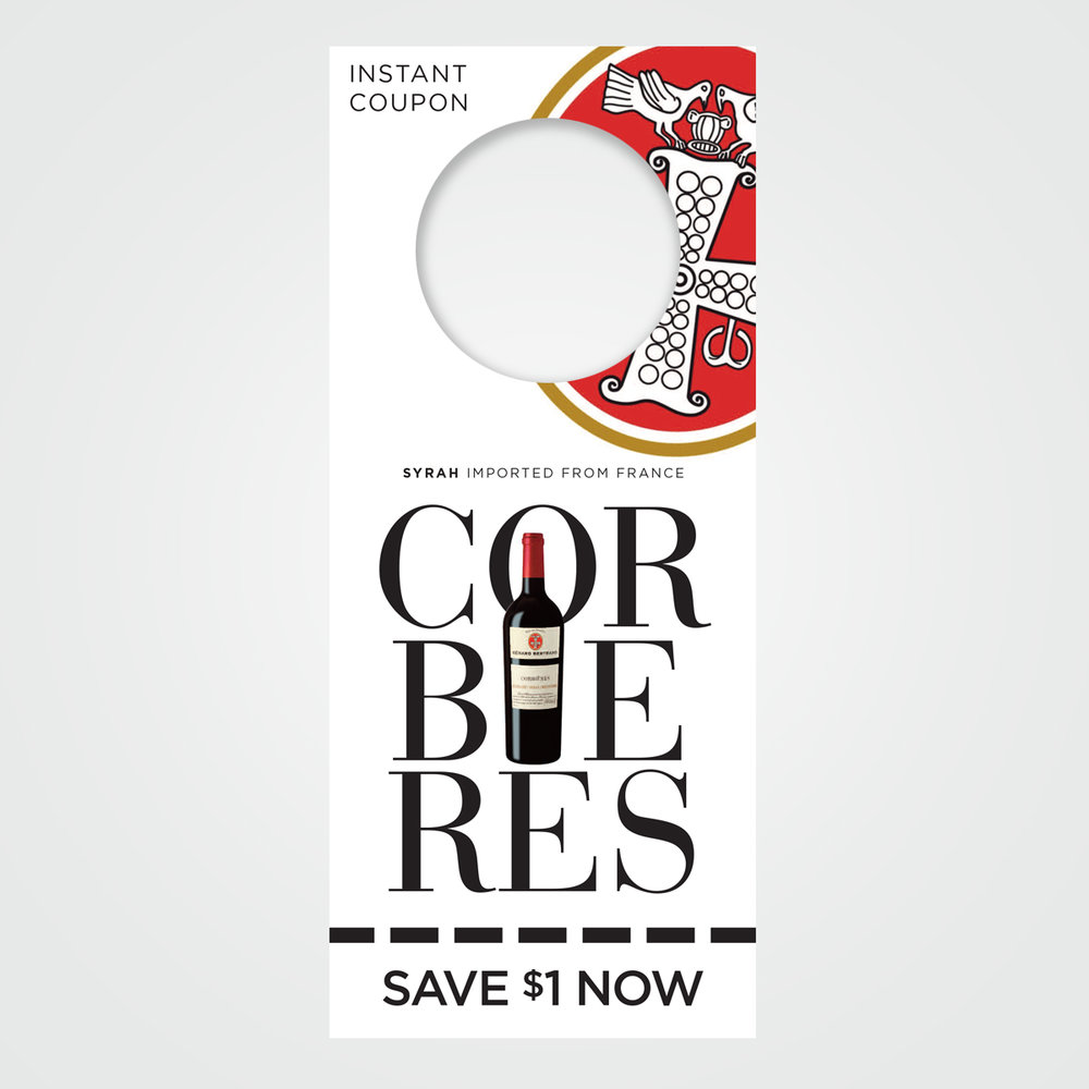 POS instant rebate coupon / necker design for Corbieres syrah wine from France