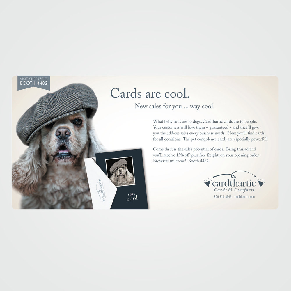 B2B direct mail postcard design for Cardthartic, greeting cards carried by 2,600 card and gift shops throughout the U.S. and Canada