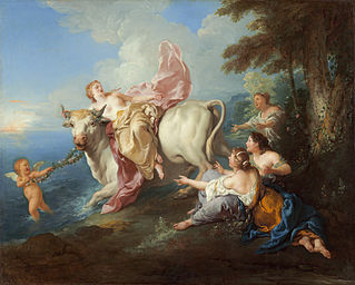 Jean-François de Troy's depiction of Europa's abduction by Jupiter, who took the form of a white bull in Ovid's original tale.