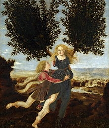 Antonio Pollaiuolo's depiction of Daphne's escape from Apollo as she transformed into a bay laurel.