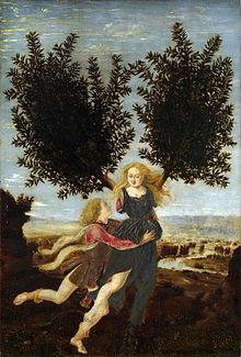Antonio Pollaiuolo's depiction of Daphne's escape from Apollo as she transformed into a bay laurel.