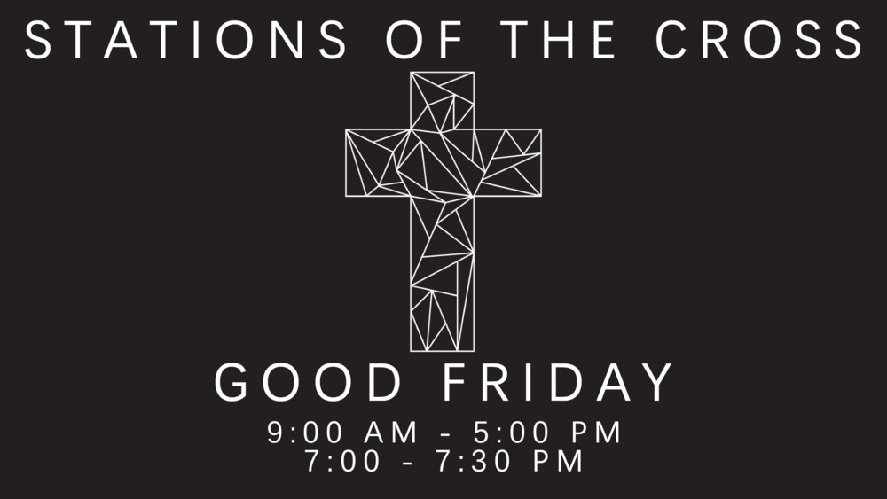 On Good Friday, we host Stations Of The Cross, an interactive opportunity to ponder Jesus' ultimate sacrifice. The Sanctuary will be open from 9:00am to 5:00pm, and will re-open from 7:00 - 7:30pm just before our Good Friday service.