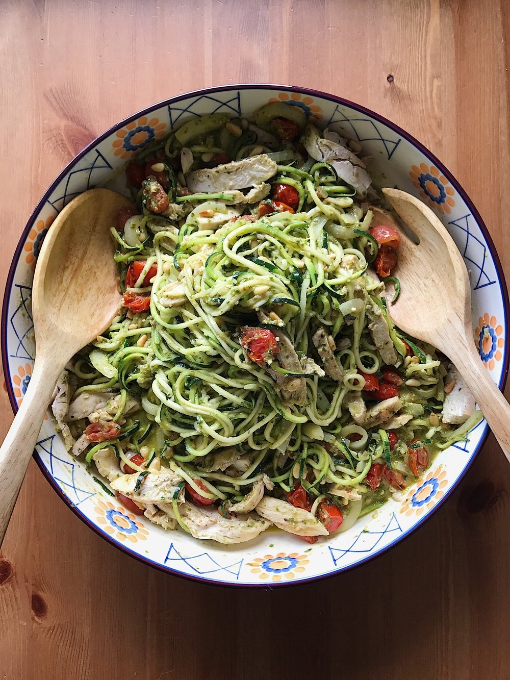 Zoodles have become my new favourite Candida diet-friendly meal. Simply sauté garlic and onions in ghee, throw in some cherry tomatoes, then add pre-cooked organic chicken, spiralized zucchini, toasted pine nuts, lemon juice, and home made pesto (keep on heat until warm).