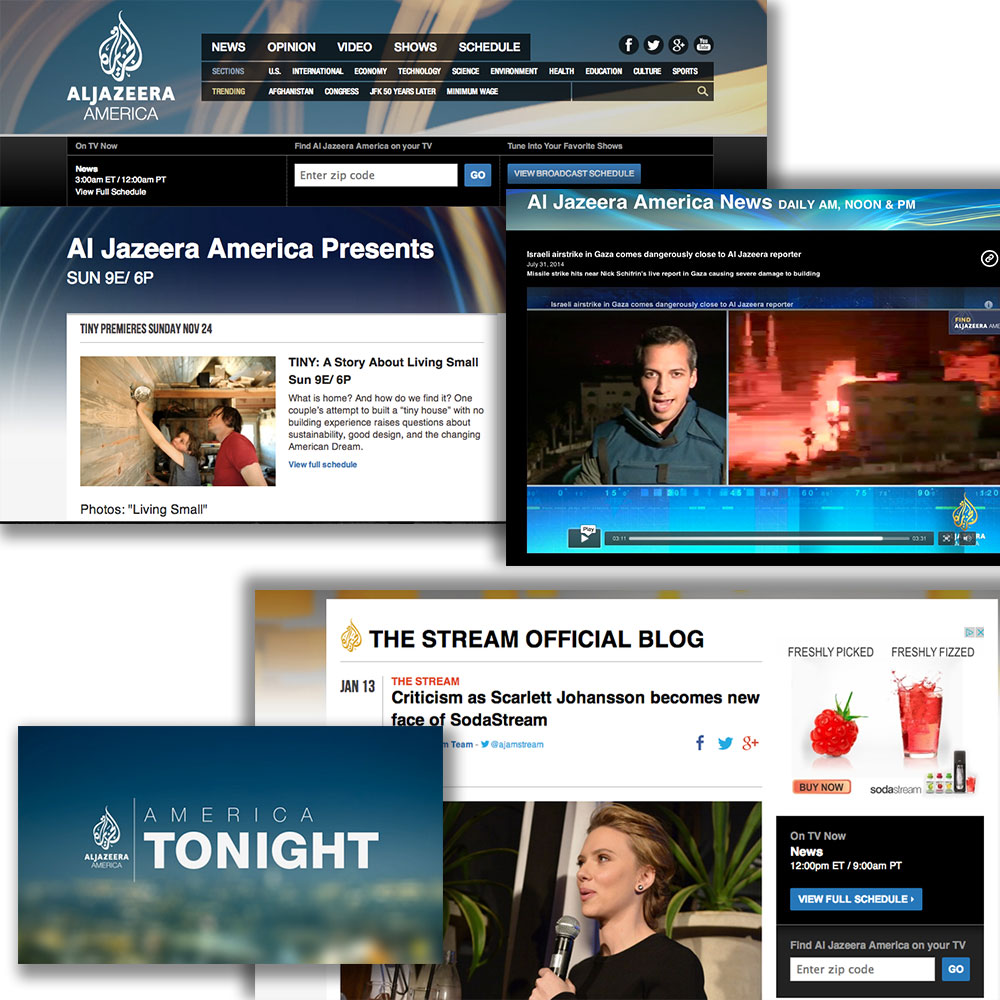 Screen grabs from Al Jazeera America's show-related web properties