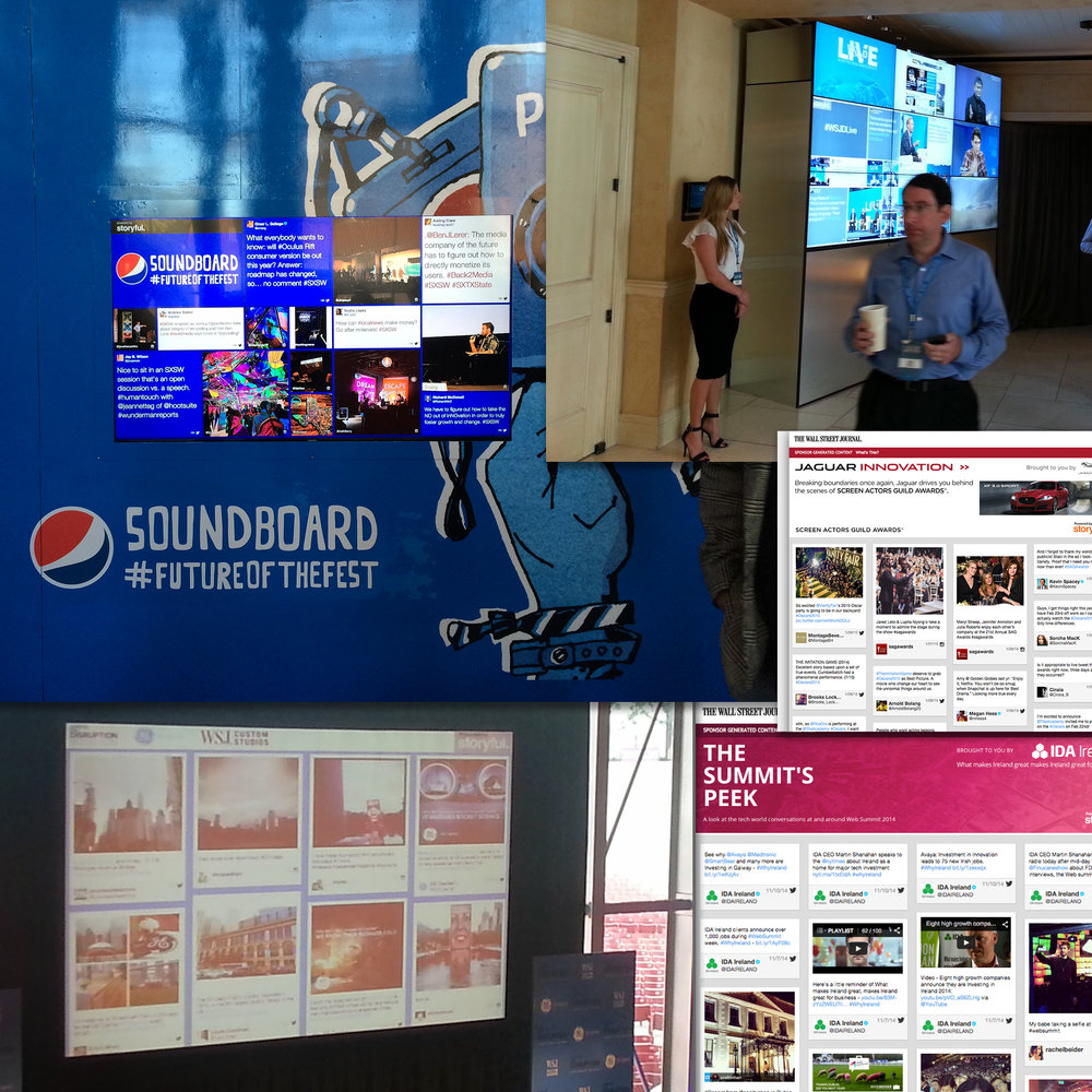 Photographs of media installations and screenshots of digital social media walls for Storyful