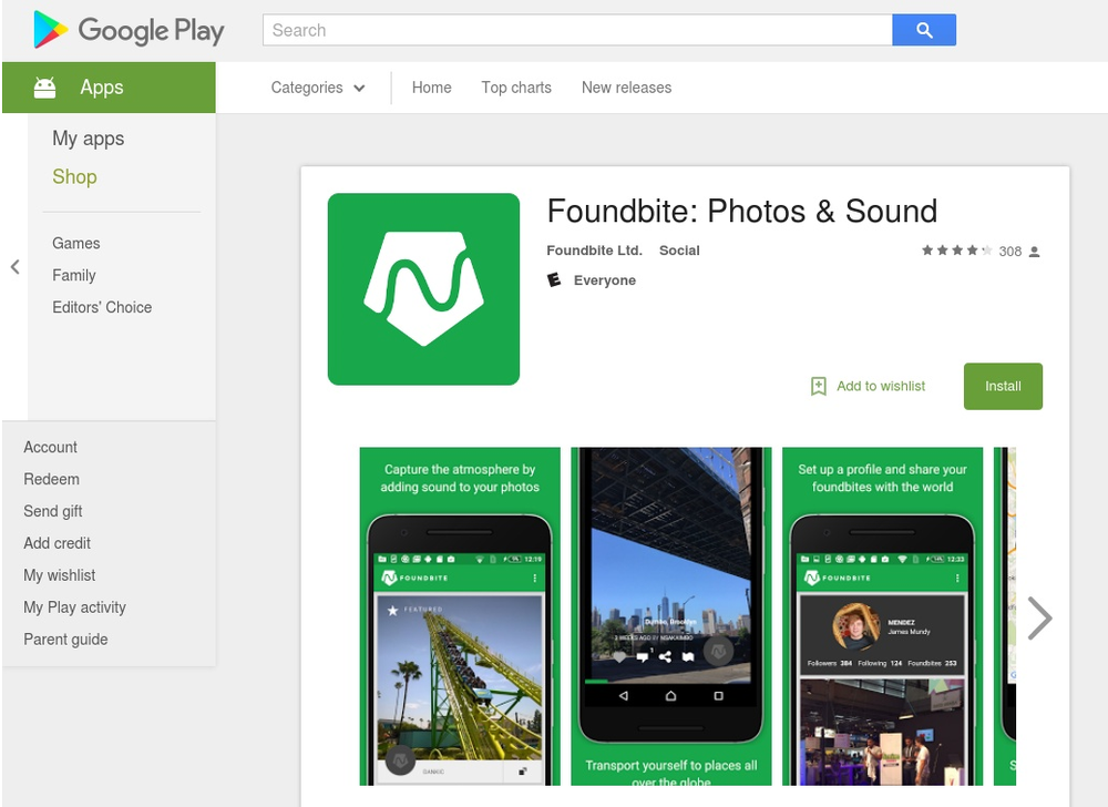 Foundbite on the Google Play Store