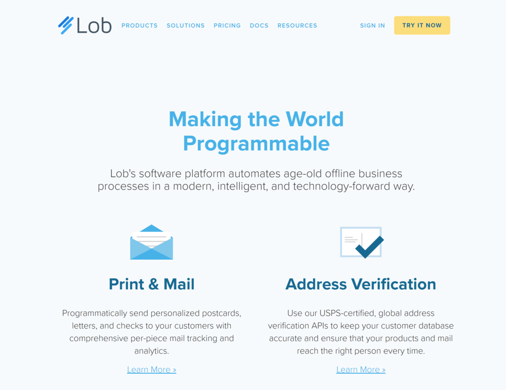 Lob's  service allows developers to send post with a simple API request.