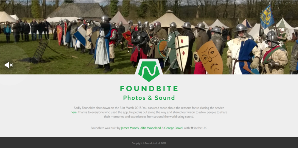 The only remaining page of the  Foundbite  home page.