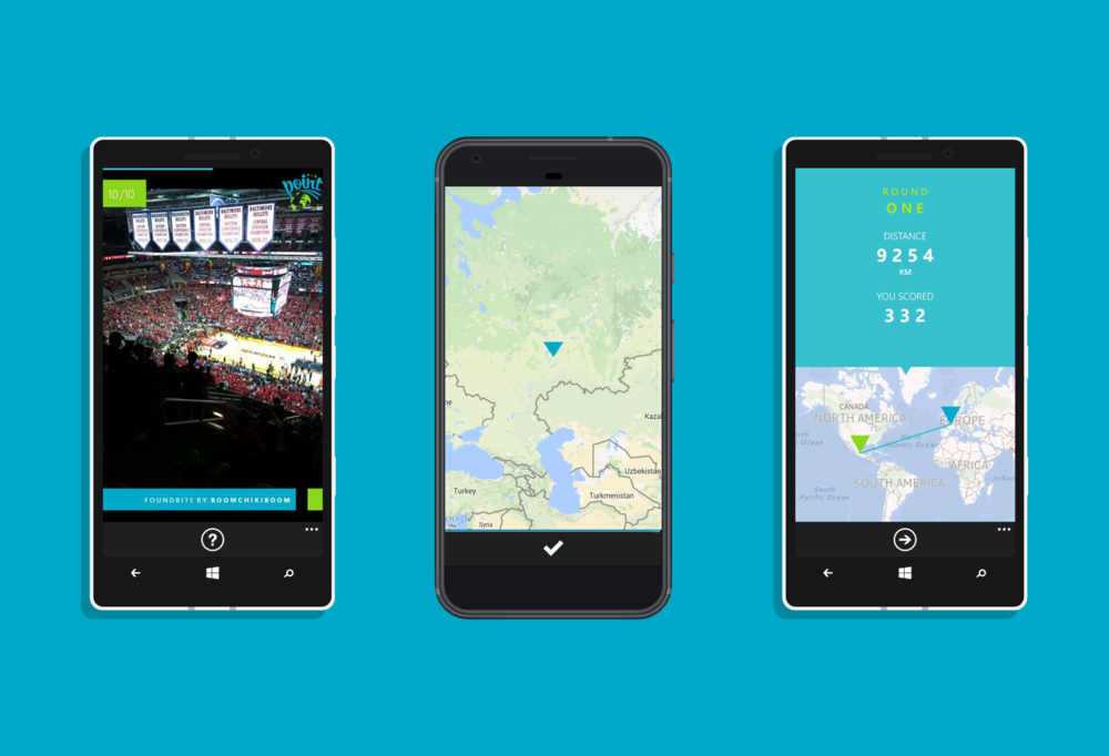 The Pinpoint UI on Android and Windows Phone. The images show the process of watching a foundbite, guessing its location and then viewing the correct location on the map and receiving a score.