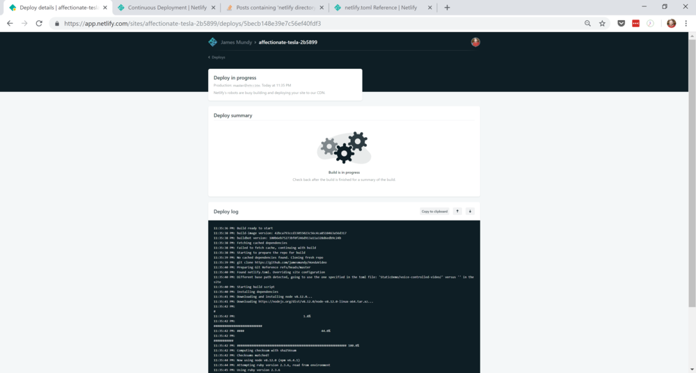 Netlify's build page.