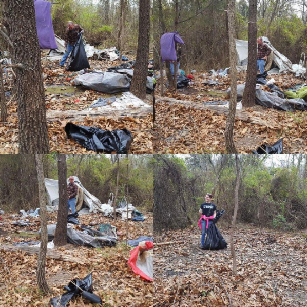 Before and after image of Frisco Greenway clean up event.