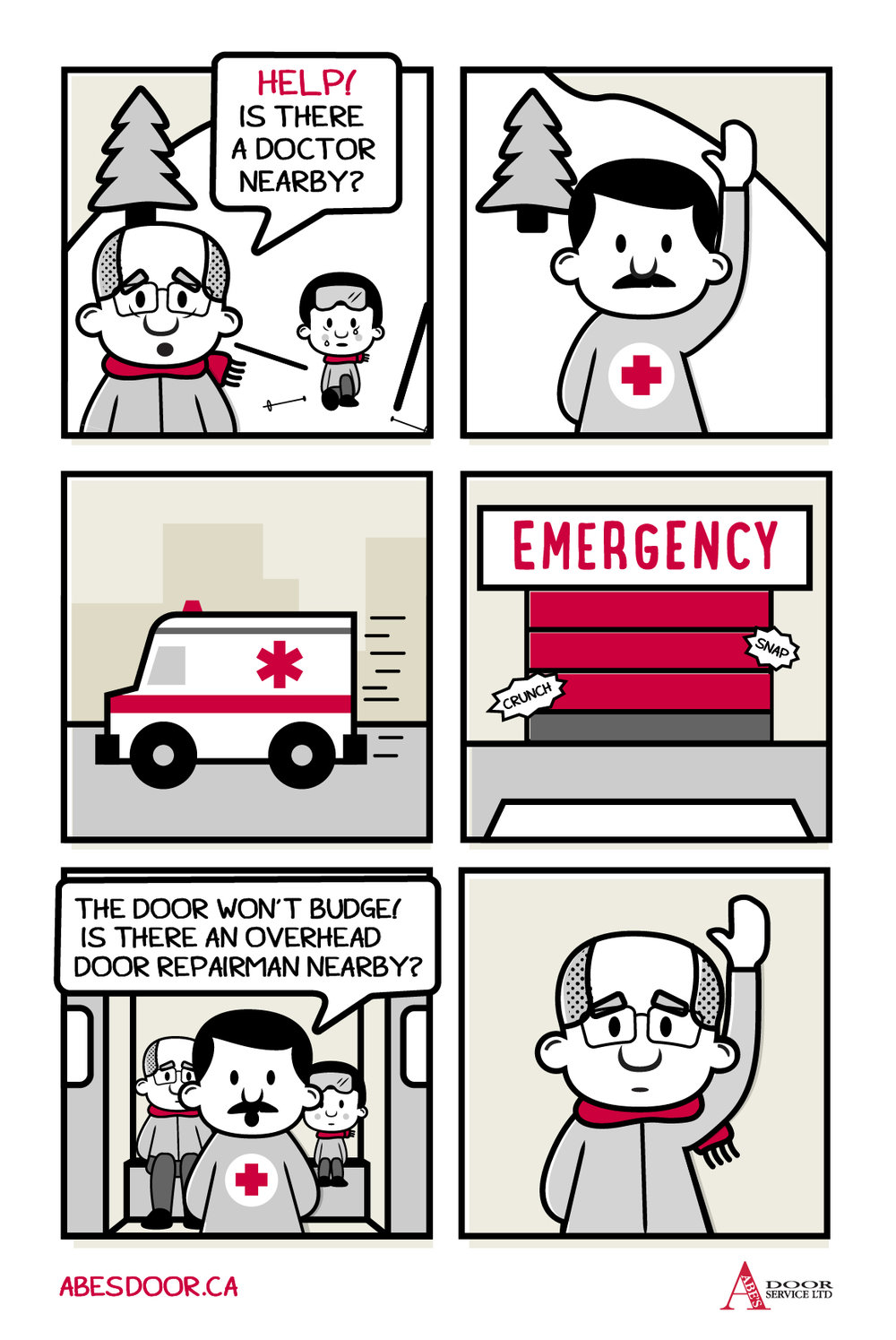 Hospital Overhead Garage Web Comic| Edmonton, Alberta | Abe's Door