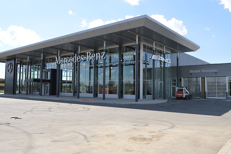 The Mercedes Benz service reception overhead doors combine style and function.