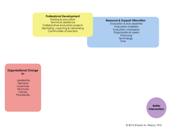 Three major evaluation capacity building strategies in three primary colors.