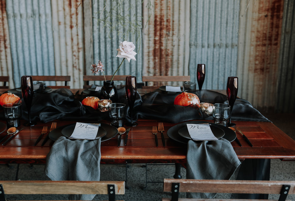 Bloodwood Botanica | Dark moody wedding table