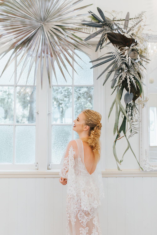Bloodwood Botanica | Floating silver wedding arbour