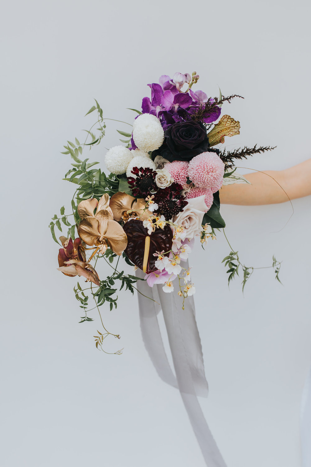 Bloodwood Botanica | Purple and gold bridal bouquet