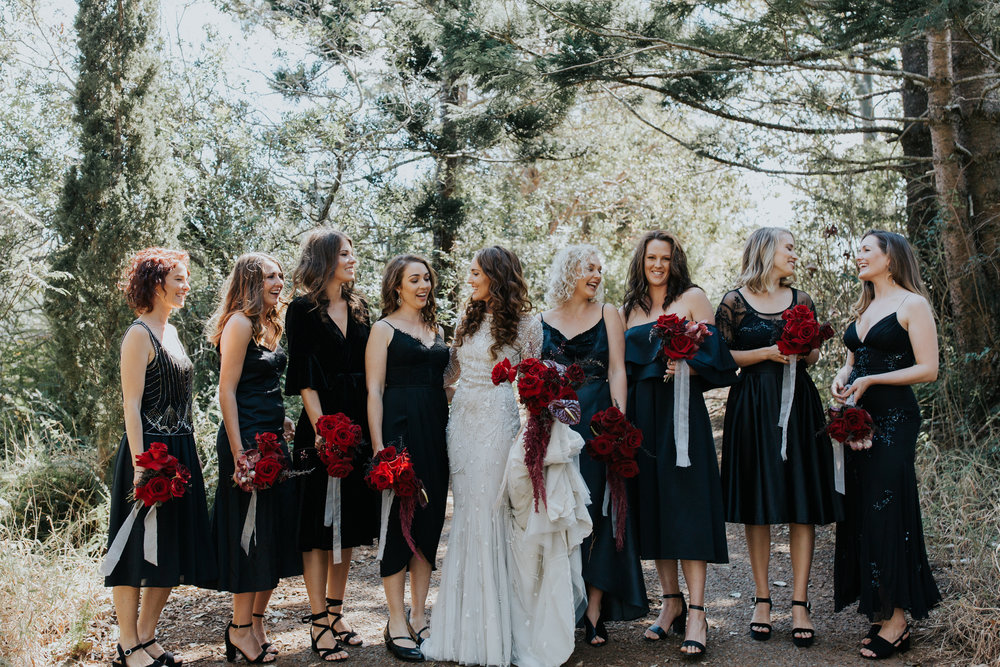 Bloodwood Botanica | Maleny red wedding flowers black bridesmaids dresses bouquets