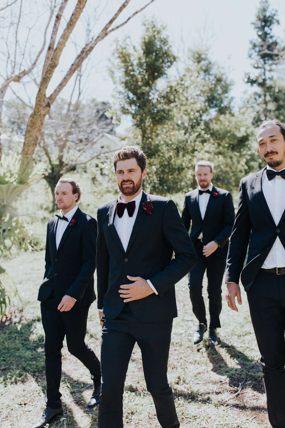 Bloodwood Botanica | Maleny red wedding flowers groomsmen buttonholes