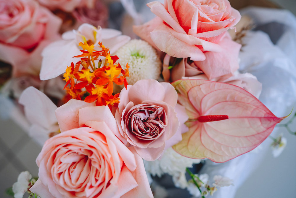 Bloodwood Botanica | Noosa waterfront pink and orange wedding flowers