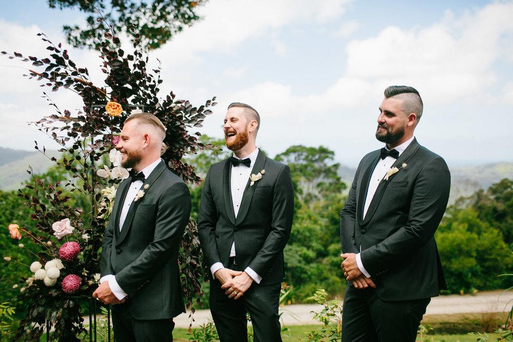 Bloodwood Botanica   Groomsmen grooms hunks byron bay wedding flowers