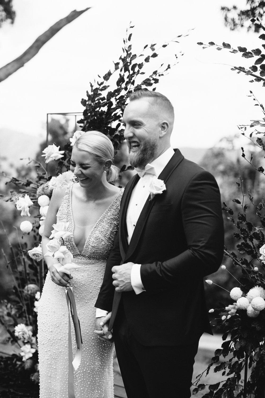Bloodwood Botanica   Happy couple byron bay wedding flowers