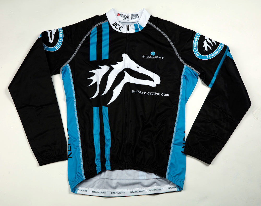 Contrast stitching ($5 upgrade) shown on this Bluegrass Cycling Club winter Jersey.