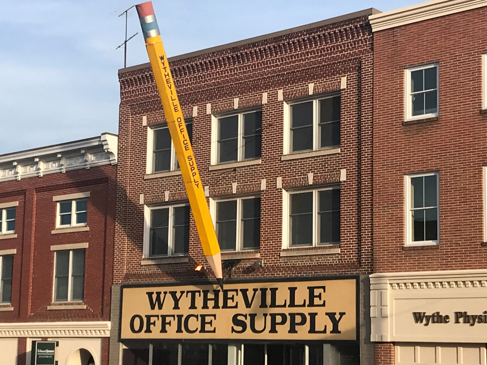 The Big Pencil of downtown Wytheville, VA