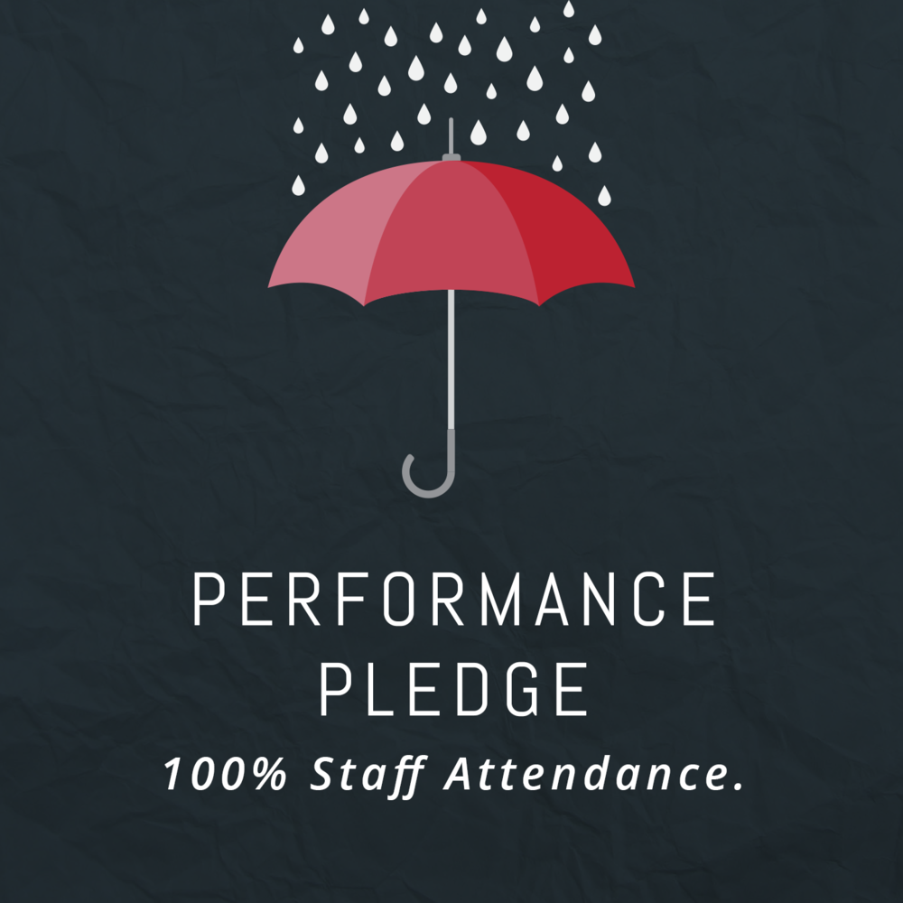 100% staff attendance – guaranteed.