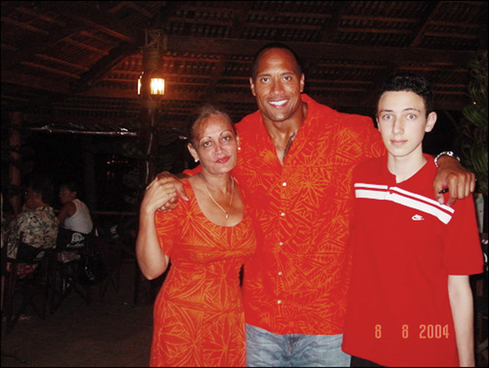 A younger Edwin with big cuz - Dwayne 'The Rock' Johnson
