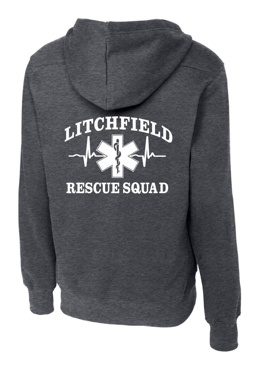 Rescue Squad Dark Heather Gray Lace Hoodie — Pursley Embroidery   Design 311d57e13