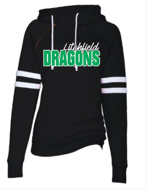 Enza Striped Hoodie with Printed Dragons 9378f5d44