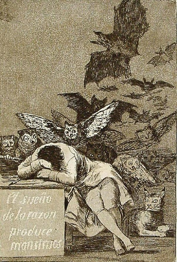 The Sleep of Reason Produces Monsters by Francisco Goya (etching)