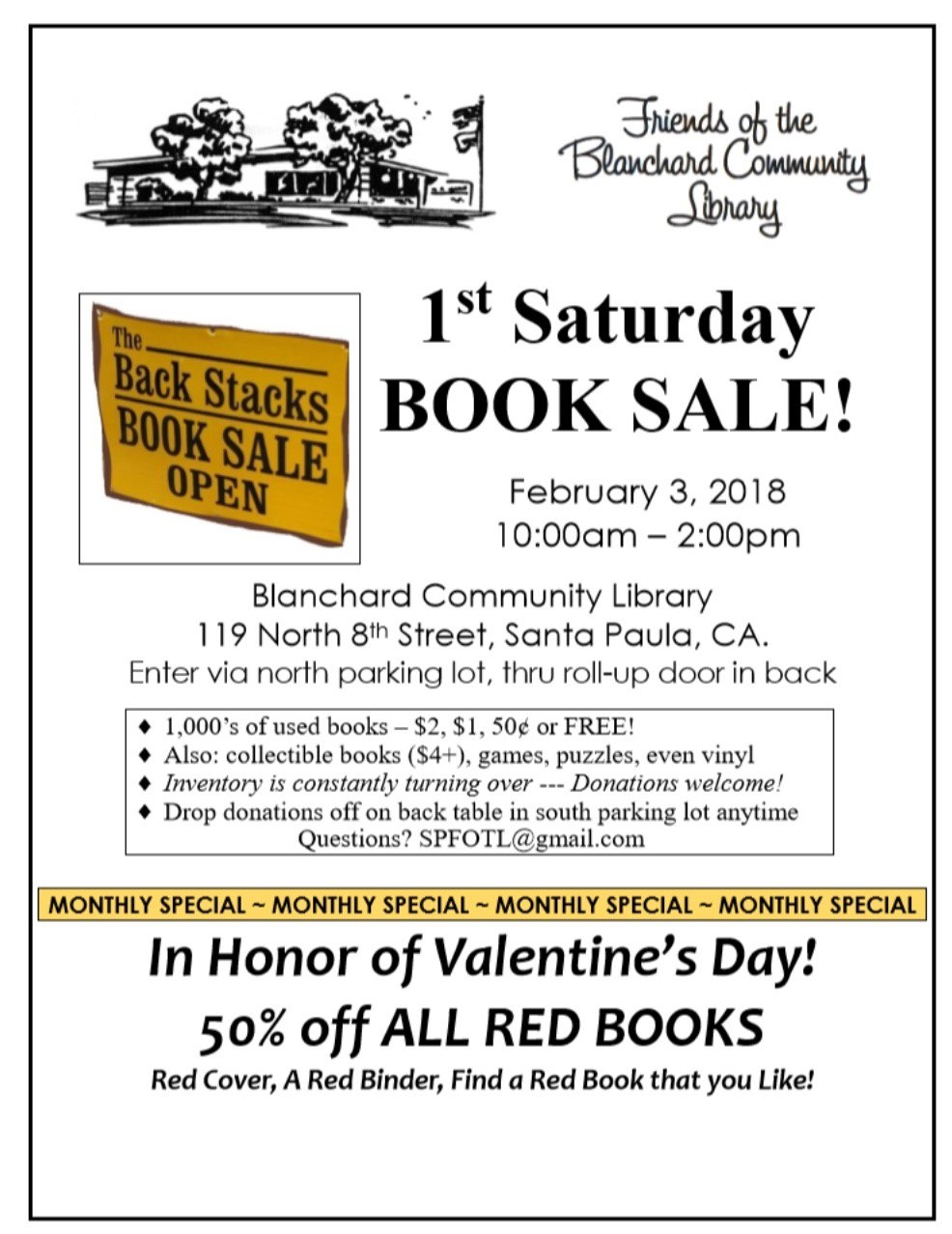 1st Sat Book Sale Feb 3, 2018.jpg