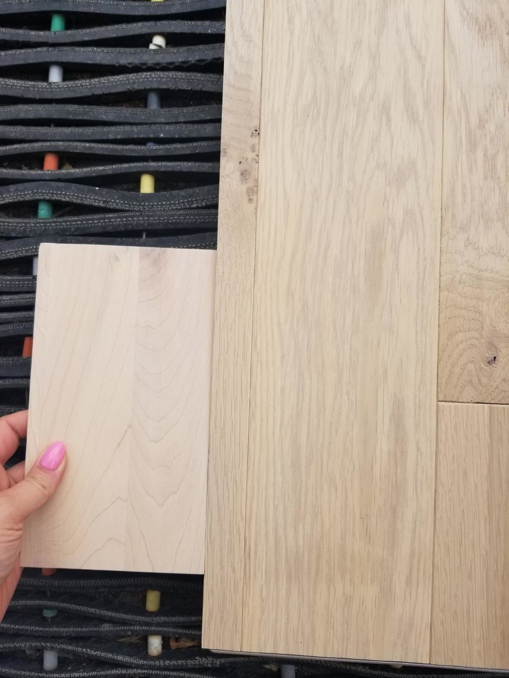 Our hardwood sample and stairs sample; it was the closest we could get