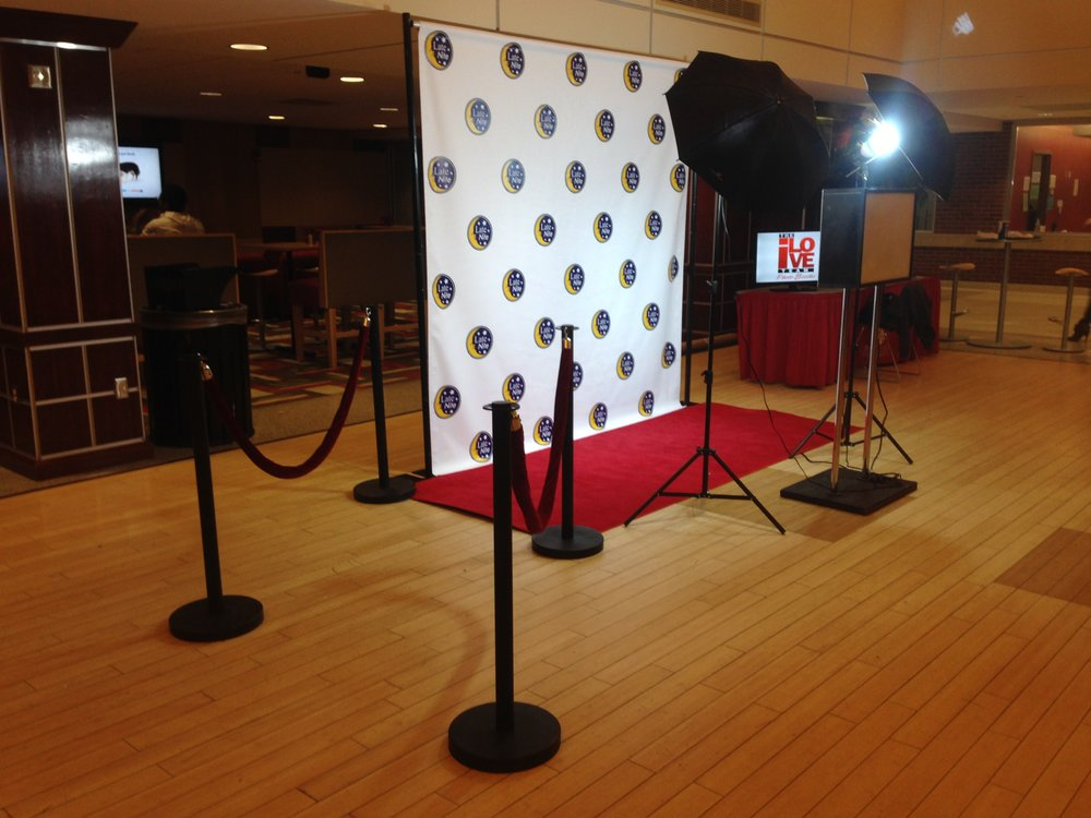 Corporate Booth - For corporate events and applications we offer custom printed fabric backdrops, red carpet and stanchions for crowd control.Base 4 hour package - from $750